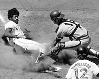 San Francisco Giants Gary Maddox is tagged out at home by San Diego catcher Fred Kindall. Maddox tried to stretch triple into inside the park HR. (photo 1973 by Ron Riesterer)