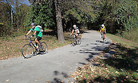 NWA Democrat-Gazette/FLIP PUTTHOFF <br /> Riders head out Oct. 23 2016 on a paved portion of the Frisco Highline Trail near Bolivar, Mo. The bicycle and pedestrian path runs 35 miles between Springfield, Mo., and Bolivar.