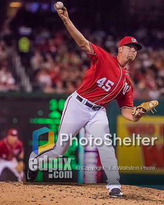 6 August 2016: Washington Nationals pitcher Blake Treinen on the mound against the San Francisco Giants at Nationals Park in Washington, DC. The Giants defeated the Nationals 7-1 to even their series at one game apiece. Mandatory Credit: Ed Wolfstein Photo *** RAW (NEF) Image File Available ***