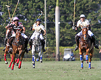 WELLINGTON, FL - FEBRUARY 05:  Facundo Pieres #3 of Orchard Hill and Matias Torres Zavaleta of Valiente II race to take control of the ball, during one of the early matches of the Ylvisaker Cup at the International Polo Club Palm Beach on February 05, 2017 in Wellington, Florida. (Photo by Liz Lamont/Eclipse Sportswire/Getty Images)