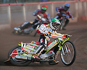 Heat 5 - Adams (green), Kasprzak (red), Lanham (blue) - Lakeside Hammers vs Swindon Robins - Sky Sports Elite League at Arena Essex, Purfleet - 17/08/07  - MANDATORY CREDIT: Gavin Ellis/TGSPHOTO - SELF-BILLING APPLIES WHERE APPROPRIATE. NO UNPAID USE. TEL: 0845 094 6026..