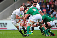 Callum Chick of England U20 in possession. World Rugby U20 Championship Final between England U20 and Ireland U20 on June 25, 2016 at the AJ Bell Stadium in Manchester, England. Photo by: Patrick Khachfe / Onside Images