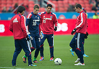 21 April 2012: Chicago Fire players in action during the warm-up in a game between the Chicago Fire and Toronto FC at BMO Field in Toronto..The Chicago Fire won 3-2...