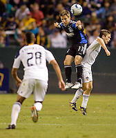 San Jose Earthquakes midfielder Bobby Convey (11) battles with LA Galaxy rookie midfielder Michael Stephens (26). The LA Galaxy and the San Jose Earthquakes played to a 2-2 draw at Home Depot Center stadium in Carson, California on Thursday July 22, 2010.