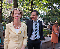 Democratic NYS gubernatorial candidate Zephyr Teachout, left,  with Lt. Gov. candidate Tim Wu, at a news conference in New York on Tuesday, August 26, 2014  about receiving the endorsement of the National Organization of Women-NYS in her candidacy for governor of New York State. Teachout, a Fordham University law professor is considered a long shot in the Democratic primary on Sept. 9 against well-funded incumbent Gov. Andrew Cuomo but supporters encourage voters to cast their ballot as a vote against Cuomo. The event was held at the Eleanor Roosevelt statue in Riverside Park on Women's Equality Day. (© Richard B. Levine)