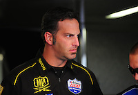 May 6, 2012; Commerce, GA, USA: Aaron Brooks , crew chief for NHRA top fuel dragster driver Morgan Lucas during the Southern Nationals at Atlanta Dragway. Mandatory Credit: Mark J. Rebilas-