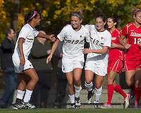 Boston College midfielder Kristen Mewis (19) celebrates her goal with teammates. Boston College defeated Marist College, 6-1, in NCAA tournament play at Newton Campus Field, November 13, 2011.