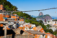 Sugar Loaf mountain seen from Favela Santa Marta in Botafogo quarter.