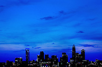 Skyline photography of the Charlotte cityscape at dusk. Patrick Schneider Photography has an extensive collection of Charlotte skylines, with photos showing many different perspectives and weather conditions.