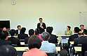 August 23, 2011, Tokyo, Japan - Japans former Foreign Minister Seiji Maehara addresses his fellow Democrat lawmakers in a meeting in Tokyo on Tuesday, August 23, 2011.....In the meeting, Maehara, 49, announced his candidacy in a ruling party contest to succeed outgoing Prime Minister Naoto Kan. The race would pit Maehara against Finance Minister Yoshihiko Noda. Kan is expected to formally announce his departure on Friday following the passage of a key renewable energy bill through parliament, a condition given by the embattled premier for his resignation. The opposition-controlled upper house is expected to pass the bill by Friday, allowing the ruling Democratic Party of Japan to hold a leadership contest on Monday. (Photo by Natsuki Sakai/AFLO) [3615] -mis-..
