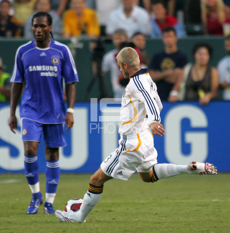 LA Galaxy MID David Beckham (23) during his first appearance with the LA Galaxy as he enters the game. Chelsea FC beat the LA Galaxy 1-0 at the Home Depot Center in Carson, California, Saturday, July 21, 2007.