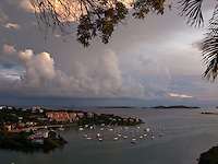 Cruz Bay at dusk<br /> St John<br /> U.S. Virgin Islands