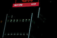 Temperature is displaying on a screen as a record low is setting in New York. 15.02.2015. Kena Betancur/VIEWpress.