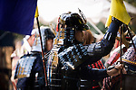 "Dressed in ornate period costume, members of the Toyama-ryu ""yabusame"" horseback archery group take part in a yabusame event event in Machida, western Tokyo, Japan on Nov. 28 2010. During the late Heian era (794 to 1185) and Kamakura era (1185-1333) such archery was the domain of high-ranked samurai and was used as a military training exercise to keep samurai prepared for war. Photographer: Robert Gilhooly"