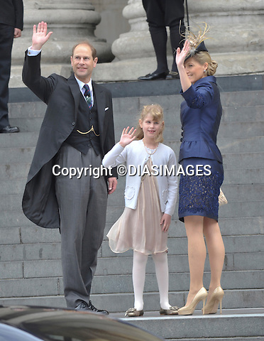 """PRINCE EDWARD, SOPHIE AND DAUGHTER LOUISE.QUEEN CELEBRATES DIAMOND JUBILEE.The Queen and 50 members of the Royal Family attended a church service to celebrate her Diamond Jubilee at St. Paul's Cathedral, London_05/06/2012.Mandatory Credit Photo: ©Francis Dias/DIASIMAGES..**ALL FEES PAYABLE TO: """"NEWSPIX INTERNATIONAL""""**..IMMEDIATE CONFIRMATION OF USAGE REQUIRED:.Newspix International, 31 Chinnery Hill, Bishop's Stortford, ENGLAND CM23 3PS.Tel:+441279 324672  ; Fax: +441279656877.Mobile:  07775681153.e-mail: info@newspixinternational.co.uk"""