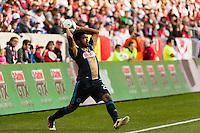 Sheanon Williams (25) of the Philadelphia Union on a throw in. The New York Red Bulls defeated the Philadelphia Union 2-1 during a Major League Soccer (MLS) match at Red Bull Arena in Harrison, NJ, on March 30, 2013.