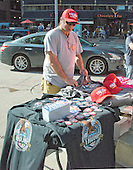 Tino Ferreira, a vendor from Sarasota, Florida, at his table where he sells Donald Trump merchandise near the Quicken Loans Arena, site of the 2016 Republican National Convention in Cleveland, Ohio on Saturday, July 16, 2016.<br /> Credit: Ron Sachs / CNP<br /> (RESTRICTION: NO New York or New Jersey Newspapers or newspapers within a 75 mile radius of New York City)