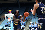 16 February 2017: Georgia Tech's Elo Edeferioka (NGA) (left) passes to Francesca Pan (ITA) (33). The University of North Carolina Tar Heels hosted the Ramblin' Wreck from Georgia Tech University at Carmichael Arena in Chapel Hill, North Carolina in a 2016-17 NCAA Division I Women's Basketball game. North Carolina won the game 89-88.
