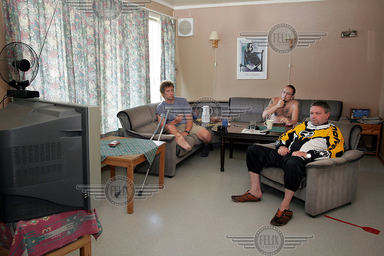 Prisoners watch Tour de France in the livingroom of their house. ..Bastøy Prison/Horten/Norway. ©Fredrik Naumann/Felix Features