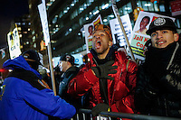 People demonstrating outside of City Hall in New York City against police violence, were met by another group in support of the New York Police Department. Even though the two sides opposed each other, no violence ensued.Gary Hershorn/VIEWpress