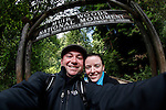 Brian and Allison in front of the main entrance to Muir Woods National Park in Mill Valley, California. (Photo by Brian Garfinkel)