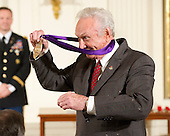Mel Tillis shows off the medal he received from United States President Barack Obama during the 2011 National Medal of Arts ceremony in the East Room of the White House in Washington, D.C. on Monday, February 13, 2012..Credit: Ron Sachs / Pool via CNP