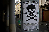 Paris, France.May 6, 2007..Posters of the two final French presidential candidates around the city. An anti-Sarkozy poster that was pasted throughout the city..