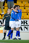 St Johnstone v Kilmarnock..28.12.11   SPL .Fran Sandaza celebrates his first goal with David McCracken.Picture by Graeme Hart..Copyright Perthshire Picture Agency.Tel: 01738 623350  Mobile: 07990 594431