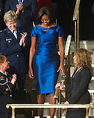 First lady Michelle Obama arrives before United States President Barack Obama delivered his State of the Union Address to a Joint Session of Congress in the U.S. Capitol in Washington, D.C., Tuesday, January 24, 2012..Credit: Ron Sachs / CNP.(RESTRICTION: NO New York or New Jersey Newspapers or newspapers within a 75 mile radius of New York City)