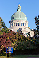 The dome of the historic Naval Academy Chapel at the US Naval Academy in Annapolis, Maryland.