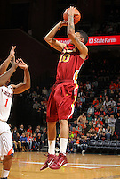 Dec. 30, 2010; Charlottesville, VA, USA; Iowa State Cyclones guard Diante Garrett (10) shoots over Virginia Cavaliers guard Jontel Evans (1) during the game at the John Paul Jones Arena. Mandatory Credit: Andrew Shurtleff