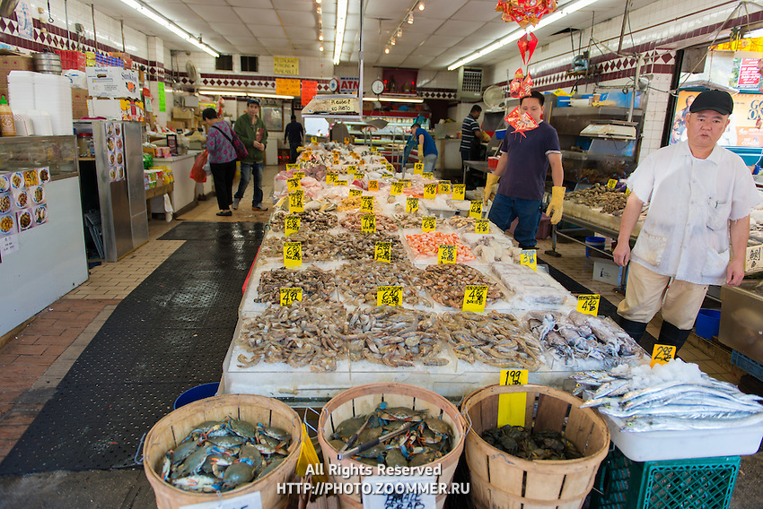 Fishmarket with fresh seafood (crabs, shrimps, fish) in Chinatown of Manhattan, New York, USA