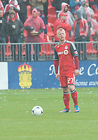 20 October 2012: Toronto FC defender Richard Eckersley #27 in action during an MLS game between the Montreal Impact and Toronto FC at BMO Field in Toronto, Ontario..The game ended in a 0-0 draw..