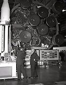 Huntsville, AL - (FILE) -- Dr. Wernher von Braun, Marshall Space Flight Center's first director, points out details on a Saturn rocket to United States President Dwight D. Eisenhower. President Eisenhower was at Marshall to participate in the center's dedication ceremony, Thursday, September 8, 1960.  Two years earlier on Tuesday, July 29, 1958, President Eisenhower signed into law the National Aeronautics and Space Act (Public Law 85-568), the United States federal statute that created the National Aeronautics and Space Administration (NASA). NASA began operations on Wednesday, October 1, 1958, with Dr. T. Keith Glennan as NASA's first administrator and Dr. Hugh L. Dryden as deputy administrator. .Credit: NASA via CNP
