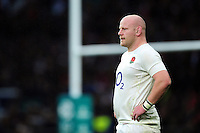 Dan Cole of England looks on during a break in play. Old Mutual Wealth Series International match between England and South Africa on November 12, 2016 at Twickenham Stadium in London, England. Photo by: Patrick Khachfe / Onside Images
