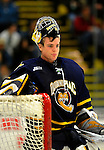 30 December 2007: Quinnipiac University Bobcats' goaltender Bud Fisher, a Junior from Peterborough, Ontario, takes a break during a game against the University of Vermont Catamounts at Gutterson Fieldhouse in Burlington, Vermont. The Bobcats defeated the Catamounts 4-1 to win the Tournament. Fisher finished with 19 saves and turned away 37 of 39 shots on the weekend to earn the MVP of the Sheraton/TD Banknorth Catamount Cup...Mandatory Photo Credit: Ed Wolfstein Photo