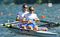 Hamilton, NEW ZEALAND. GBR LW2X. Bow, Hester GOODSELL and Sophie HOSKING. move away from the start in their heat of the lightweight women's double sculls.   2010 World Rowing Championships on Lake Karapiro Saturday  30/10/2010. [Mandatory Credit Peter Spurrier:Intersport Images].Hamilton, NEW ZEALAND. GBR LW2X. Bow, Hester GOODSELL and Sophie HOSKING. move away from the start in their heat of the lightweight women's double sculls.   2010 World Rowing Championships on Lake Karapiro Saturday  30/10/2010. [Mandatory Credit Peter Spurrier:Intersport Images].