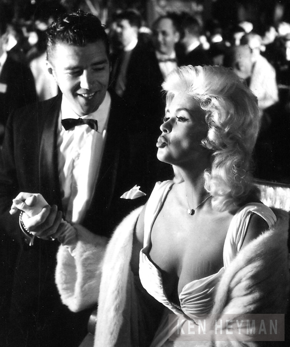Jayne Mansfield attending opening night of the Metropolitan Opera in New York.