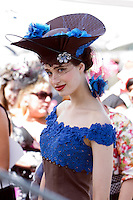 Emily Thomas in the lead up to the Melbourne Cup Fashions on the Field