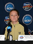 2 December 2006: Notre Dame's Brittany Bock. The University of Notre Dame Fighting Irish held a press conference at SAS Stadium in Cary, North Carolina one day before playing in the NCAA Division I Women's College Cup championship game.