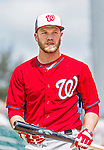 10 March 2015: Washington Nationals infielder Cutter Dykstra awaits his turn in the batting cage prior to a Spring Training game against the Miami Marlins at Roger Dean Stadium in Jupiter, Florida. The Marlins edged out the Nationals 2-1 on a walk-off solo home run in the 9th inning of Grapefruit League play. Mandatory Credit: Ed Wolfstein Photo *** RAW (NEF) Image File Available ***