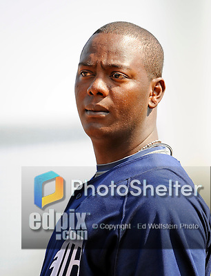 11 March 2008: Detroit Tigers' shortstop Edgar Renteria looks toward the dugout prior to a Spring Training game against the Cleveland Indians at Chain of Lakes Park, in Winter Haven Florida.The Tigers rallied to defeat the Indians 4-2 in the Grapefruit League matchup....Mandatory Photo Credit: Ed Wolfstein Photo