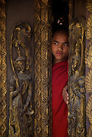 The hidden and approx. 300 year old Teak wood Monastery Yoke sone,sagging, Mandalay, Myanmar/Burma