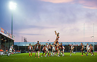 Alun Wyn Jones of the Ospreys wins the ball at a lineout. European Rugby Champions Cup match, between Exeter Chiefs and the Ospreys on January 24, 2016 at Sandy Park in Exeter, England. Photo by: Patrick Khachfe / JMP