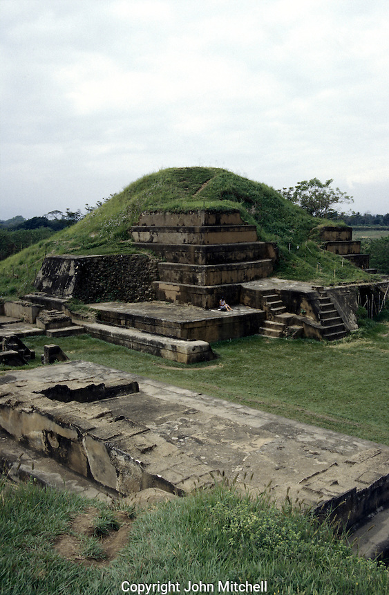 Main pyramid at the Mayan ruins of San Andres in El Salvador, Central America