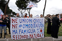 Rome, Italy. 30 January 2016<br /> Thousands of demonstrators take part in the Family Day rally at the Circo Massimo in central Rome  in support of traditional family and to protest against a bill to recognize civil unions, including same-sex ones currently under examination at the Italian Parliament.
