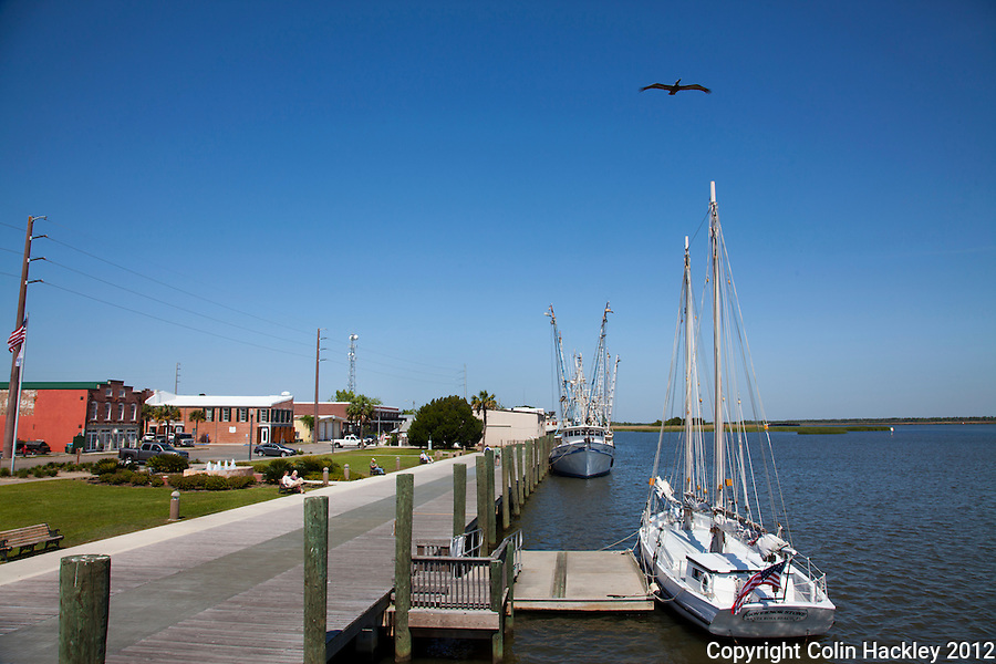 Sit down on a bench or tie up to a pier at the Riverfront park in downtown Apalachicola.