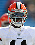 11 October 2009: Cleveland Browns' rookie wide receiver Mohamed Massaquoi warms up prior to a game against the Buffalo Bills at Ralph Wilson Stadium in Orchard Park, New York. The Browns defeated the Bills 6-3 for Cleveland's first win of the season...Mandatory Photo Credit: Ed Wolfstein Photo