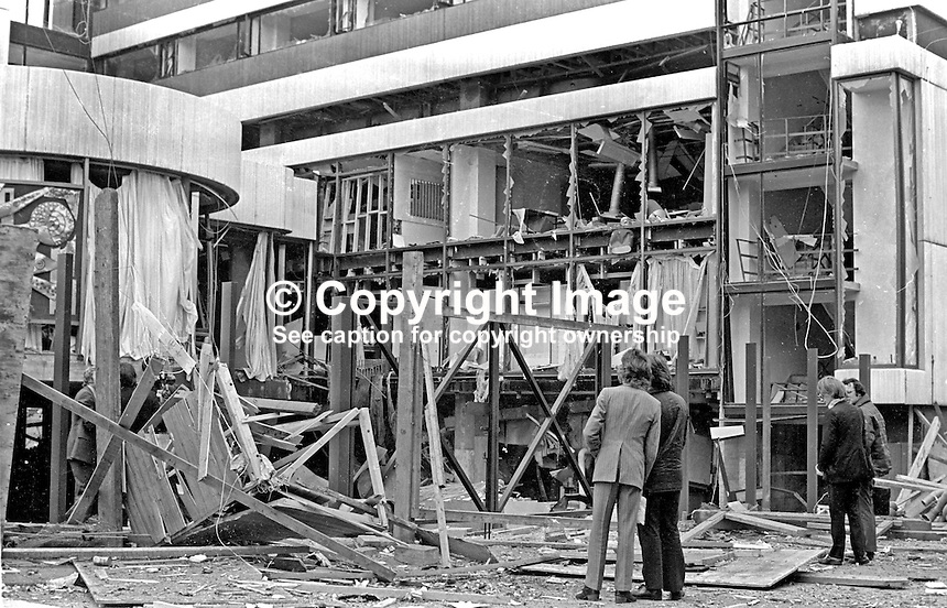 Scene of explosion at Russell Court Hotel, Belfast, N Ireland, following Provisional IRA bomb attack, 25h September 1972. 197209250582<br />