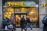 A Potbelly Sandwich Shop in the Chelsea neighborhood of New York on Wednesday, February 19, 2014. The fast casual dining chain reported disappointing sales falling short of expectations. This was only the second quarter that Potbelly reported since their IPO. ( © Richard B. Levine)